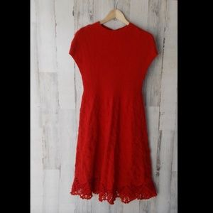 Anthropologie Feather Bone Oda Fit Flare Red Dress